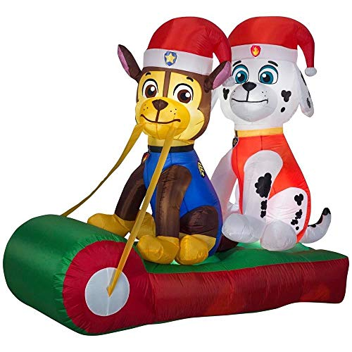 Gemmy Details About Inflatable Marshall and Chase on Sled 5Ft. Outdoor Christmas Decoration
