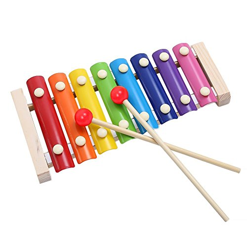 Haleppy Wooden 8 Key Notes Xylophone Toys Hand Knock Piano Music Instrument for 1 2 3 Years Old Kids and Up