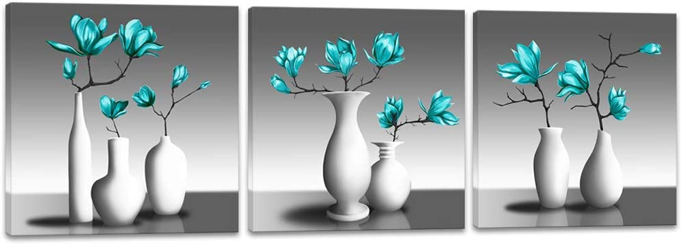 sechars 3 Piece Flower Canvas Wall Art Teal Green Magnolia Floral Painting Art Printed on Canvas Modern Home Bedroom Bathroom Zen Wall Decor Stretched Canvas Ready to Hang