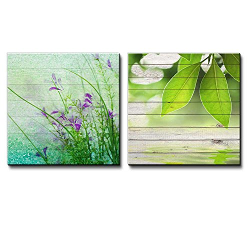 Small Purple Flowers with Blue and Green Circles Along with Branches with Leaves Over Wooden Panels