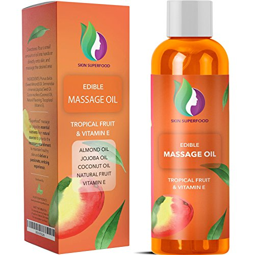 Natural Massage Oils for Body + Sex - Erotic Edible Carrier Oil with Pure Jojoba + Sweet Almond + Coconut Oil for Dry Skin Care - Tantalizing Tropical Oils for a Relaxing Sensual Massage for Couples (Massage Oil Sex Edible)