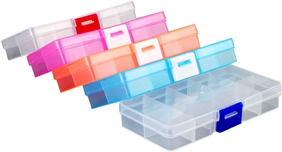 HEALLILY 5Pcs Caja de Almacenamiento Ajustable Compartimentos de Plástico Organizador Caja de 10 Rejillas con Divisores Extraíbles para La Píldora de Joyería de La Oficina de La Cocina Del Hogar Y Más