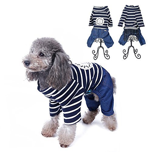 [Kuoser stripped Dog Jumpsuit for Dog Shirt Dog Costumes Cozy Dog Clothes Pet Cat Dog Sweater Shirt Jeans Autumn Small Dog Clothes XS -L,blue] (Blue Mountain State Cheerleaders Costume)