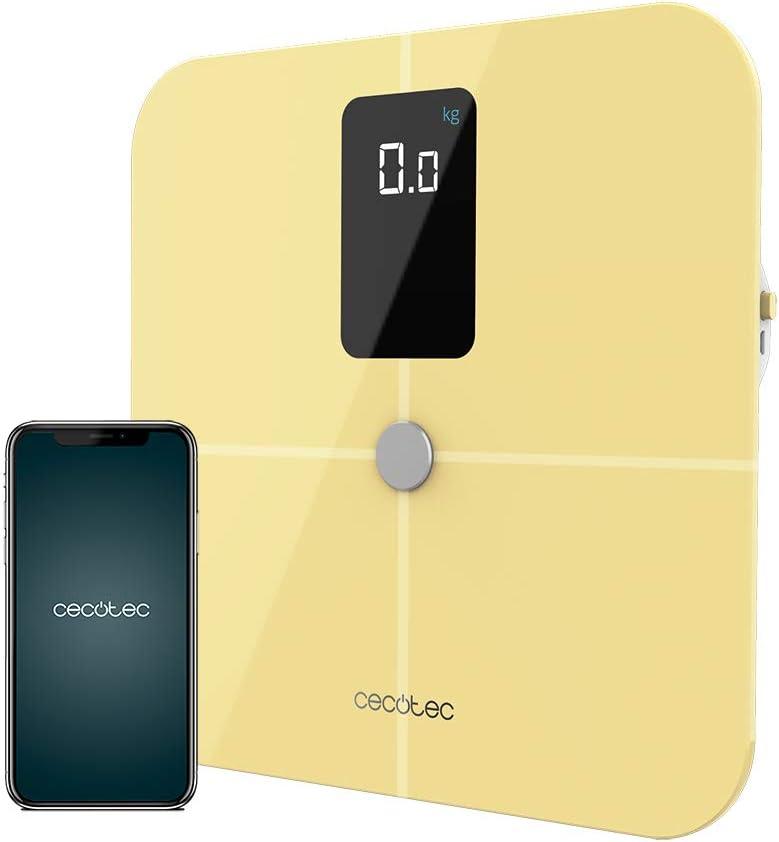Cecotec Báscula de Baño inteligente Surface Precision 10400 Smart Healthy Vision Yellow. Medición de Bioimpedancia, App, 15 Parámetros