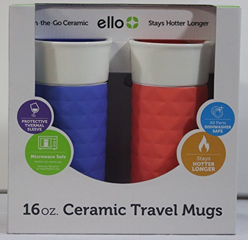 Ello Ogden BPA-Free Ceramic Travel Mug with Lid 2pk (2, Coral & Denim)