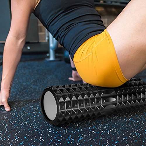 Koruson 5 Piece Complete Foam Roller Set: Includes 1 High Density Foam Roller, 1 Muscle Massager Stick, 1 Spiky Exercise Ball, 1 Smooth Exercise Ball and 1 Carrying Bag by Koruson (Image #5)