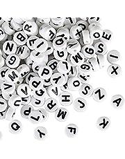 Naler 1 200 stycken bokstavspärlor 6 mm rund alfabet avståndspärlor för smycken pyssel