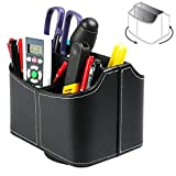 Multiuse Remote Control Holder 360° Spinning Desk Organizer, 5 Compartments Coffee Table Caddy Basket for TV Remotes Controllers Mail Electronics Office Supplies iPad Tablet Media Storage, Black