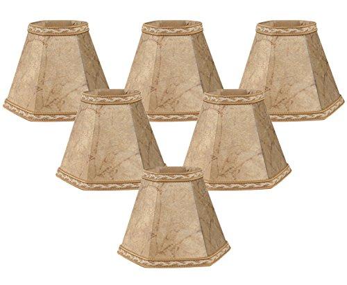 Royal Designs 5'' Faux Rawhide Hexagon Empire Chandelier Lamp Shade, Set of 6, 2.5 x 5 x 4.5 (CS-605FS-6) by Royal Designs, Inc