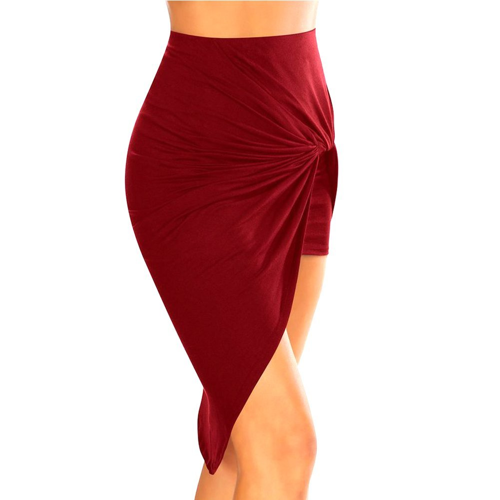 Eleery Fashion Women's Summer Drape Up Stretchy Asymmetrical High Low Short Mini Pencil Skirt Dress