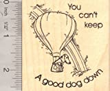 Good Dog in Hot Air Balloon Rubber Stamp