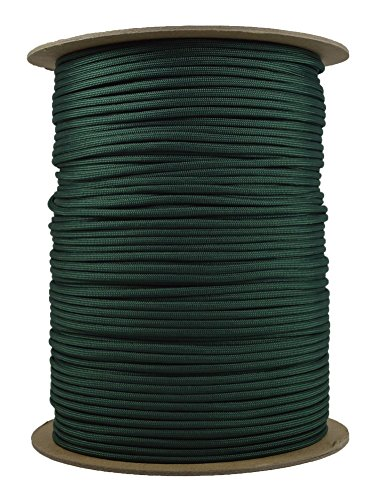 Bored Paracord - 1', 10', 25', 50', 100' Hanks & 250', 1000' Spools of Parachute 550 Cord Type III 7 Strand Paracord Well Over 300 Colors - Hunter Green - 1000 Foot Spool
