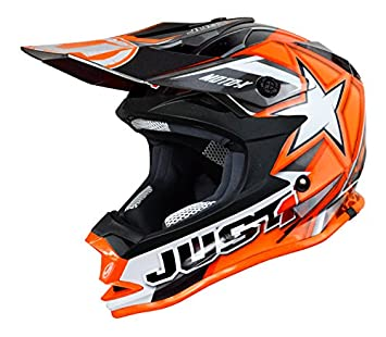 JUST1 J32 Pro – Casco para moto x, color naranja, tamaño 48-ys