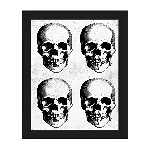 (Four Human Skulls - White - Distressed Macabre Vintage Victorian Line Drawing Etching of 4 Human Skulls Grouping for Halloween Wall Art Print on Canvas with Black)