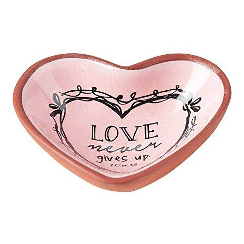 (Love Never Gives Up Rose Pink 3 x 3 Terra Cotta Heart Shaped Decorative Bowl Tray)