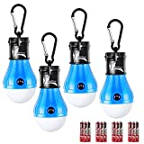 LED Tent Lights for Caming, Battery Included 150 Lumens LED Hanging Light Bulbs for Outdoor Fishing, Hiking, Camping, Backpacking, Emergency, Hurricane, Storm, Outage (Blue,4-Pcs)