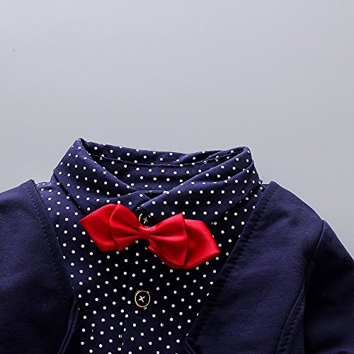 2pcs Baby Boy Dress Clothes Toddler Outfits Infant Tuxedo Formal Suits Set Shirt + Pants(Navy, 24M by HZXVic (Image #1)