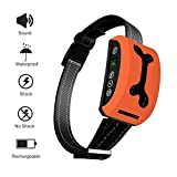 Elenest Bark Collar, 2018 Adjustable Vibration, Shock and Sensitivity Level 1-7, Rechargeable Waterproof, Smart Barking Detection for Small and Large Dog, No Bark Collar (Orange)