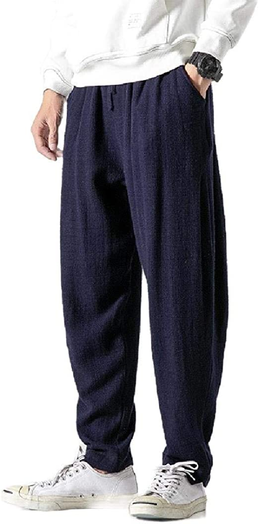 Tootess Men with Pockets Casual Vintage Loose Fall Lounge Trousers