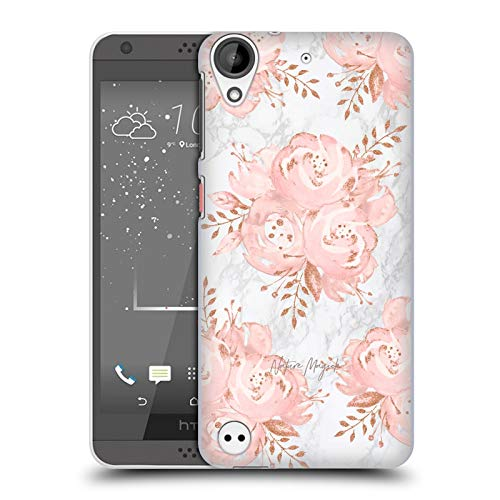 - Official Nature Magick Rose Gold Flowers Pink Glitter Flowers On Marble Hard Back Case Compatible for HTC Desire 530
