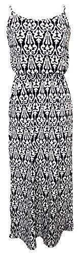 Peach Couture Women's Damask Spring and Summer Sleeveless Blouson Maxi Dress Black White Large