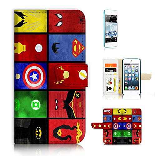( For iPod Touch 5 / iTouch 5 ) Flip Wallet Case Cover & Screen Protector Bundle - A21007 Superhero Batman Wonder Woman Superman Collection