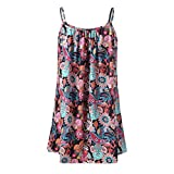 VEZAD Women Summer Printed Sleeveless Vest Blouse Tank Tops Camis Clothes