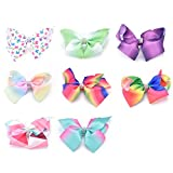 himipopo Rainbow hair bow knot baby hair clip gift for children and teenagers (Tapered bow 8pcs)