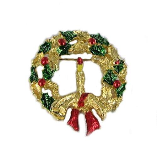Gerrys Gold Tone Brooch (Christmas Wreath Pin Enamel New Gold Tone Xmas Jewelry)