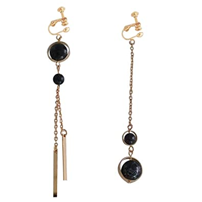 Screw Back Clip on Earring Clip for non Pierced Drop Dangle Beads Tassel Party Banquet Black Ball MnR8mTaJG