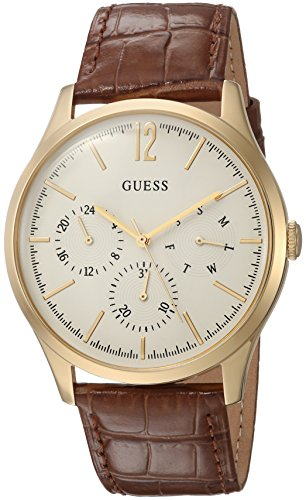 GUESS Men's Quartz Stainless Steel and Leather Casual Watch, Color:Brown (Model: U1041G2)