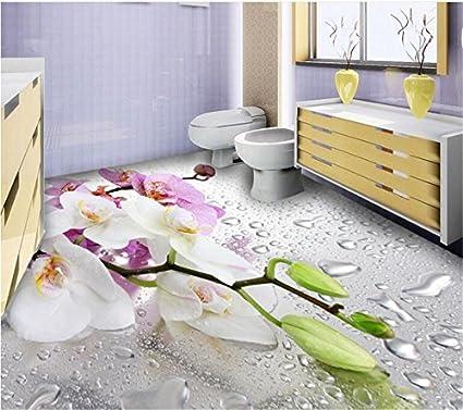 Huytong 3D Papel Pintado Sala De Estar Dormitorio Mural Pvc Impermeable Rocío Romántico Mariposa Orquídea Suelo