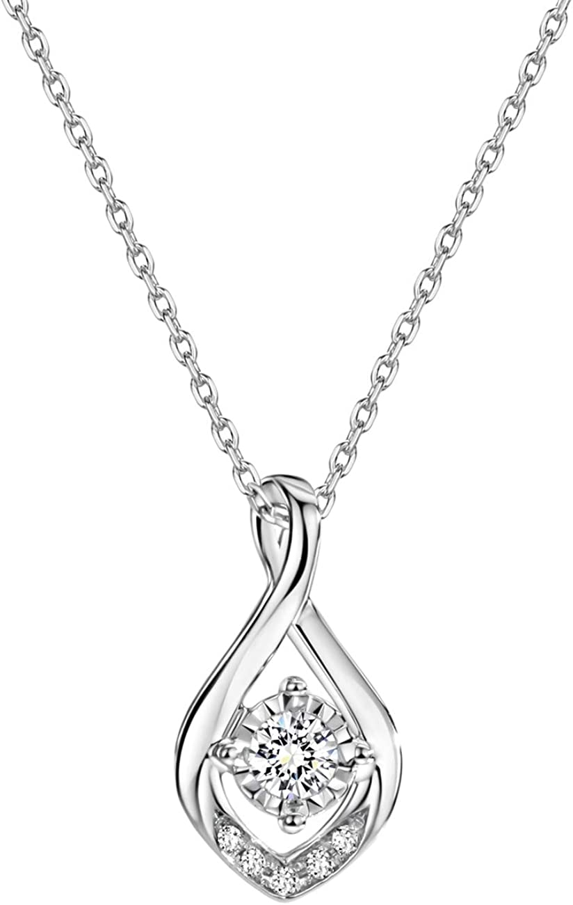 Diamond Angel Circle Pendant 1//10ct 10k White Gold /& Rose Gold