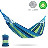 Yolafe Outdoor Hammock, Travel camping Hammock for 1 person, Thick Canvas Hammock for Safety and Anti-tear, Portable Leisure Hammock with 2 Straps and Carry Bag (Blue)