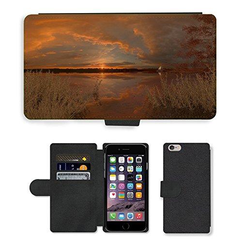 "PU Leather Cover Custodia per // M00421705 Lac Coucher de soleil Nature Calme // Apple iPhone 6 PLUS 5.5"""