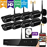 [1080p HD & Audio Compatible] xmartO 8CH 1080p HD Outdoor Wireless Security Surveillance Camera System 8pcs 1080p HD Wireless Security Cameras 2TB HDD, NVR Built-in WiFi Router, 80ft IR