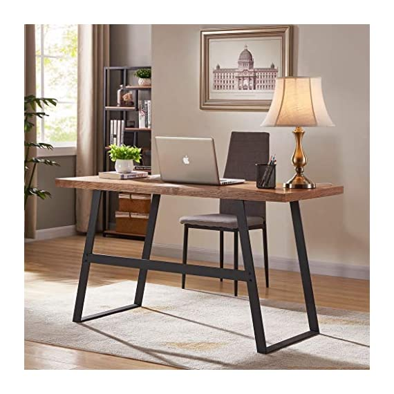 """BON AUGURE Industrial Computer Desk for Home Office, Rustic Writing Desk, Vintage Study Table (55"""", Cherry) - Multipurpose Desk: This rustic computer desk top made with solid wood veneer + MDF that retains the original wood natural grain and doesn't bend like real solid wood. Sturdy Construction: High quality of MDF and metal tube frame make this industrial desk super sturdy. Desktop can hold up to 280 lbs. The trapezoid-shaped metal legs strengthen the stability and keep balance. Dimensions: 55.12""""L x 23.62""""W x 29.92""""H Inch. Desk top thickness: 1.57 Inch. - writing-desks, living-room-furniture, living-room - 51FQoEPuEbL. SS570  -"""