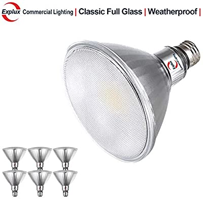 Explux Dimmable Classic Full Glass 120W Equivalent PAR38 LED Flood Light Bulbs