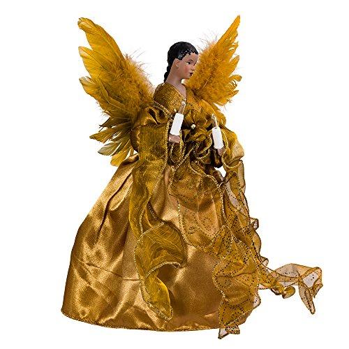 kurt adler ul 10 light african american angel christmas treetop figurine 13 inch gold - Black Christmas Angels