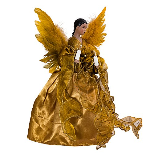 (Kurt Adler UL 10-Light African American Angel Christmas Treetop Figurine, 13-Inch, Gold )