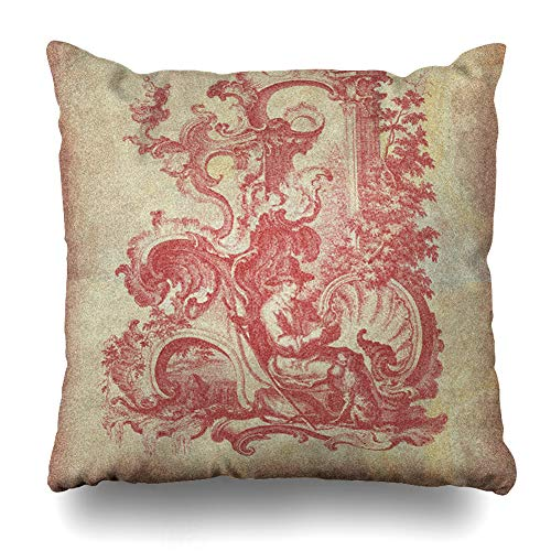 (Ahawoso Throw Pillow Cover Square 24x24 Inches Country Red Williamsburg Toile Decorative Pillow Case Home Decor Pillowcase)