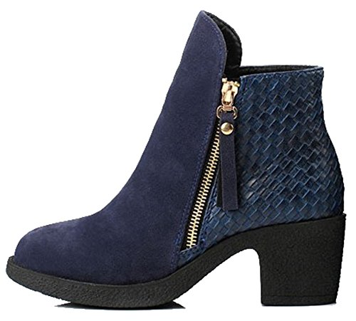 Frosted Heel Women's Blue Zipper Aisun Boots Stitching Chunky Comfy Mid T4xqZfq