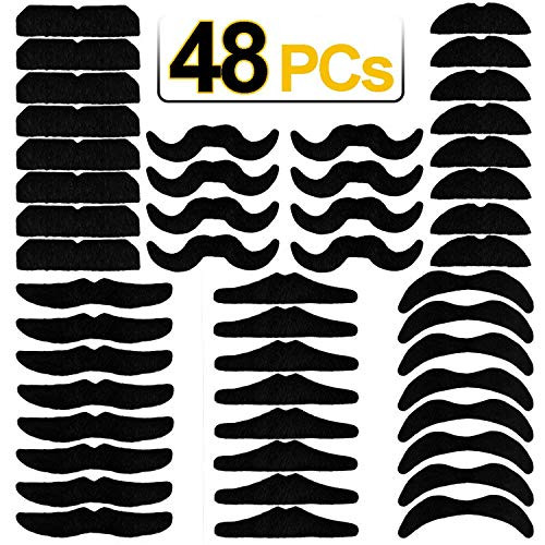 Halloween Costumes With Beards 2019 (LERORO 48 PCS Novelty Fake Mustaches, Mustache Party Supplies, Self Adhesive Mustaches for Masquerade Party & Performance)