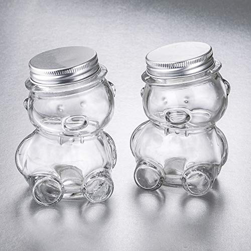 (FavorOnline Perfectly Plain Collection Teddy Bear Jar with Matte Silver Screw On Lid, 36)
