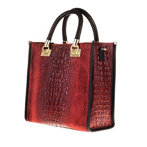 Italy Firenze borsa Color Made Autentica Italiana Opaco borsa Frontale Granato Rosso Vera Cm Di Coccodrillo Artegiani Inciso In Donna Pelle 30x30x13 Pelle Tote awX4arxp