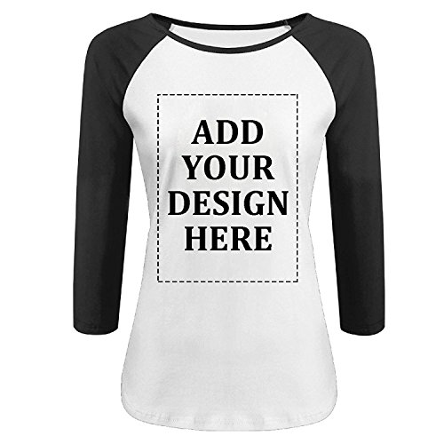 Baseball T-shirt Designs (Women's Casual Custom 3/4 Sleeve Baseball Tshirt Raglan Jersey Personalized Shirt Add Your Own Text and Design Tee Customized (black, S))
