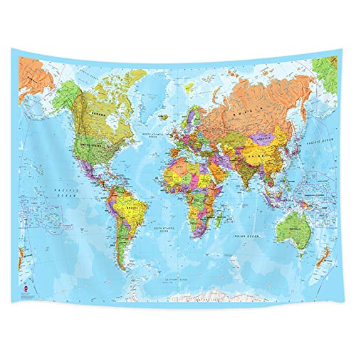 JAWO World Map Tapestry, Educational Geography Countries Capital Cities Wall Tapestry, Wall Art Hanging for Bedroom Living Room Dorm 71X60Inches Wall Blankets (World Map With All Countries And Capitals)