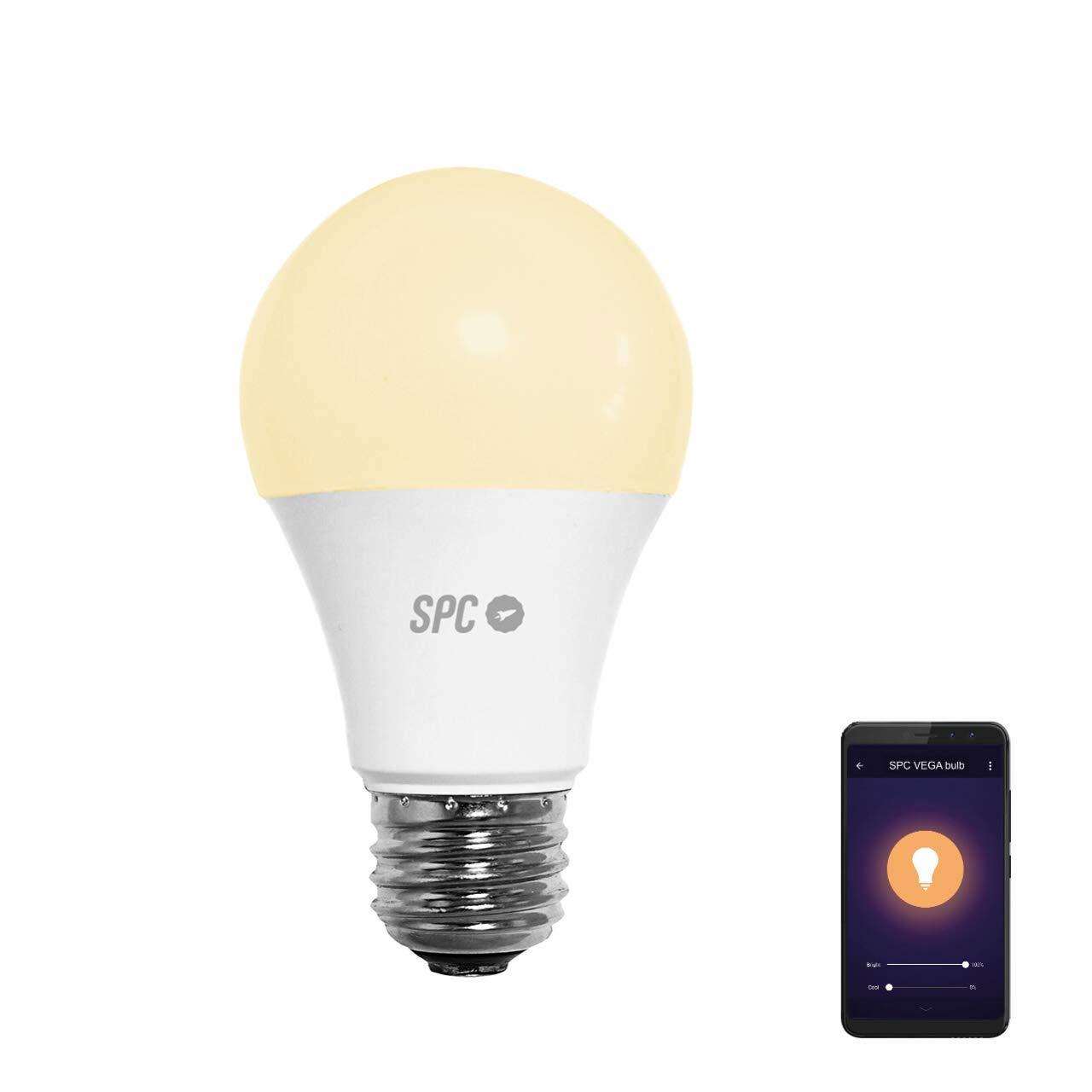 SPC Vega 1050 - Bombilla LED Wi-Fi E27, 10 W, 1050 lm, iluminación inteligente, luz blanca regulable (2700-6500K), control remoto mediante app SPC IoT, Compatible con Alexa, Google Home, A+, Blanco: Spc-Internet:
