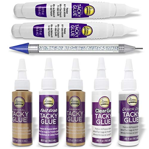 Aleenes Tacky Glue Tacky Pack, 2X Original Tacky Glue, Quick Dry Tacky Glue, Clear Gel Tacky Glue, Fast Grab Tacky Glue, 2X Tacky Glue Fast Dryng Glue Pen and Pixiss 6-inch Picker Setter Pickup Tool