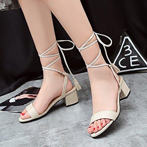 COOLCEPT Zapatos Moda Cordones Sandalias Gladiator Tacon Ancho medio Sandalias Punta Abierta para Mujer Beige